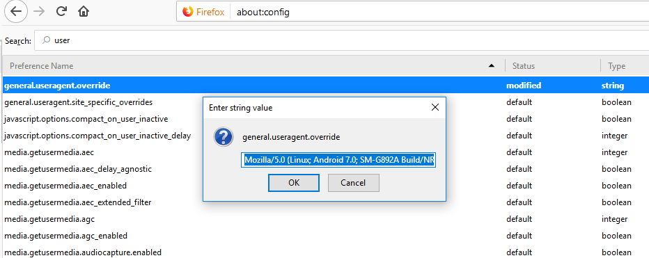 How to change User Agent in your desktop browser